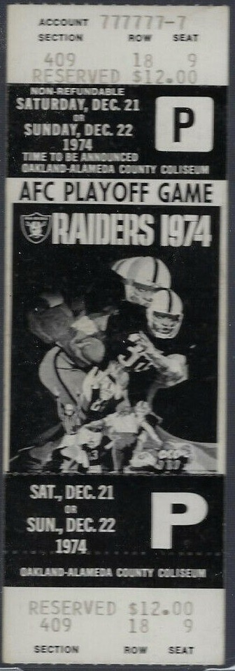 1974 AFC Divisional Game ticket stub Miami Oakland