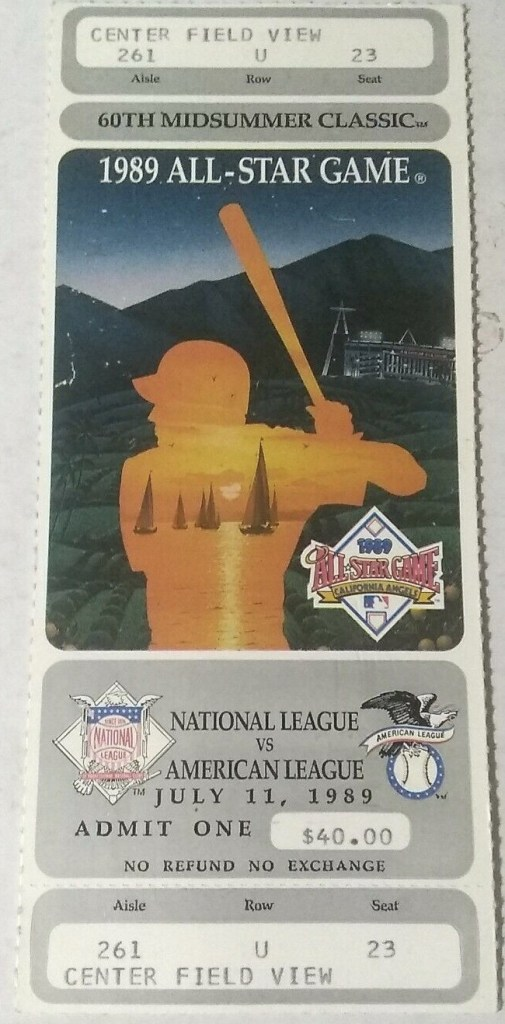 1989 MLB All-Star Game ticket stub Angels host