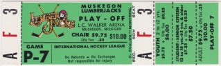 1991 Muskegon Lumberjacks Playoffs unused ticket