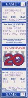 1991 New York Islanders ticket stub vs San Jose Sharks