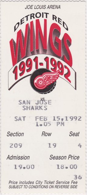 1992 Detroit Red Wings ticket vs San Jose