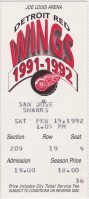 1992 Detroit Red Wings ticket stub vs San Jose