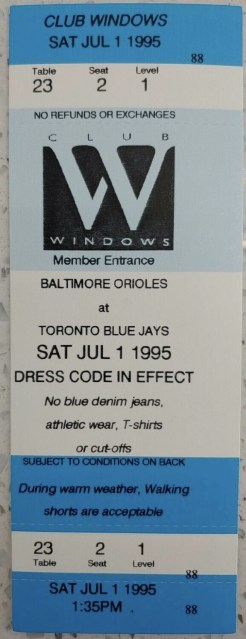 1995 Baltimore Orioles ticket stub vs Toronto 4