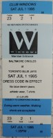 1995 Toronto Blue Jays ticket stub vs Baltimore