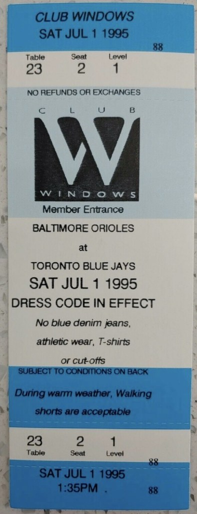 1995 Baltimore Orioles ticket stub vs Toronto