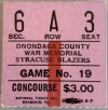 Various 1970s Syracuse Blazers ticket stubs