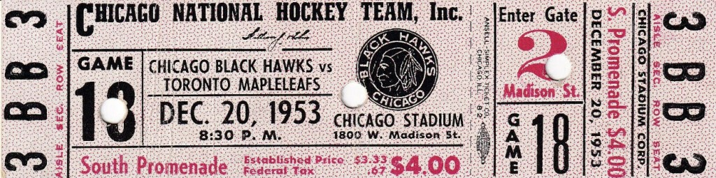 1953 Chicago Blackhawks ticket vs Toronto