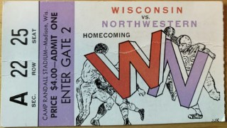 1958 NCAAF Wisconsin ticket stub vs West Virginia 20