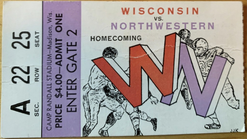 1958 NCAAF Wisconsin ticket stub vs Northwestern