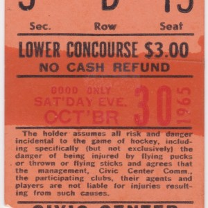 1965 AHL Baltimore Clippers ticket stub vs Rochester