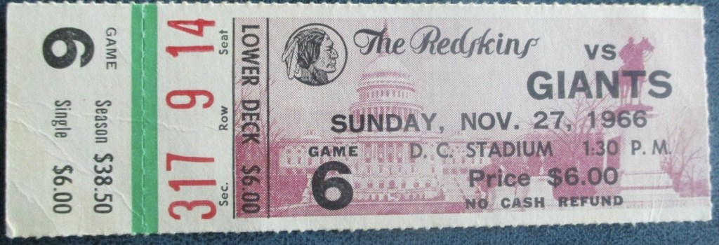 1966 NFL Highest Scoring Game ticket stub
