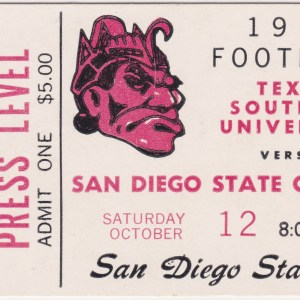 1968 NCAAF San Diego State ticket stub vs Texas Southern