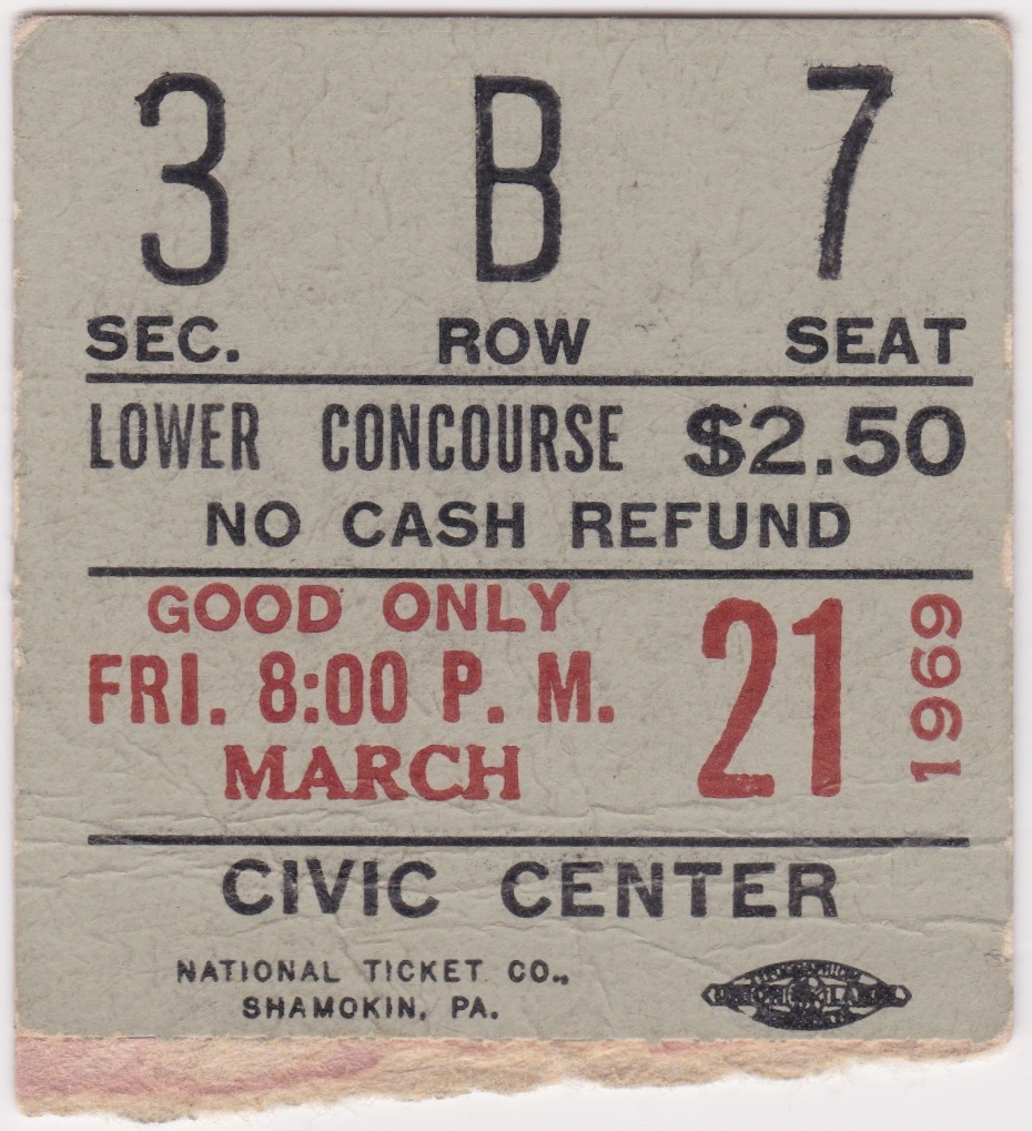 1969 AHL Baltimore Clippers ticket stub vs Rochester