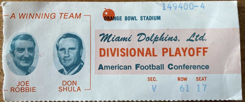 1972 AFC Divisional Game ticket stub Browns Dolphins