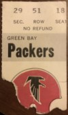 1975 Atlanta Falcons ticket stub vs Packers