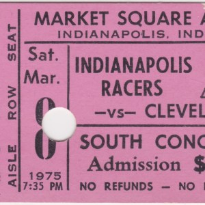 1975 WHA Indianapolis Racers ticket vs Cleveland