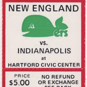 1975 WHA New England Whalers unused ticket vs Indianapolis