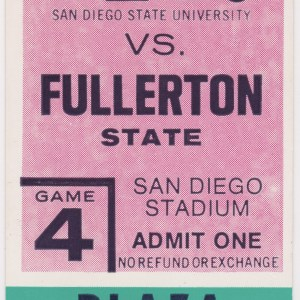 1976 San Diego State ticket stub vs Fullerton State for sale
