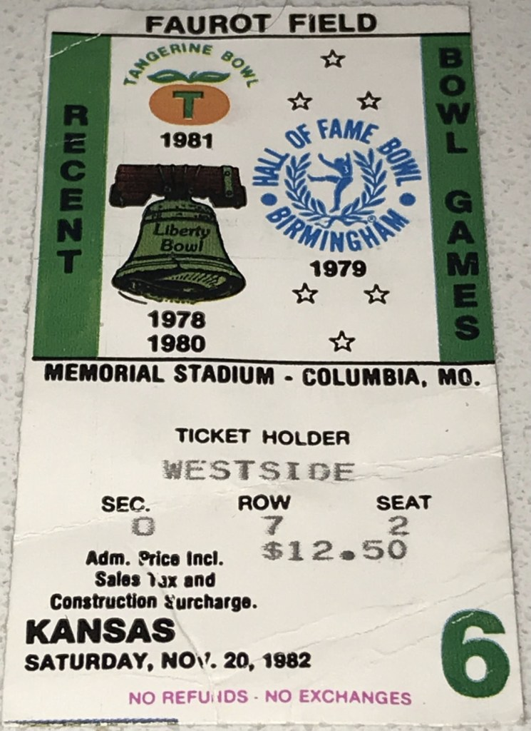 1982 NCAAF Missouri Tigers ticket stub vs Kansas