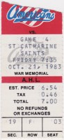 1983 Rochester Americans ticket stub vs St. Catharines