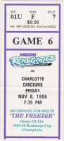 1996 Richmond Renegades ticket stub vs Charlotte