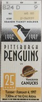 1997 Mario Lemieux 600 Career Goal ticket stub