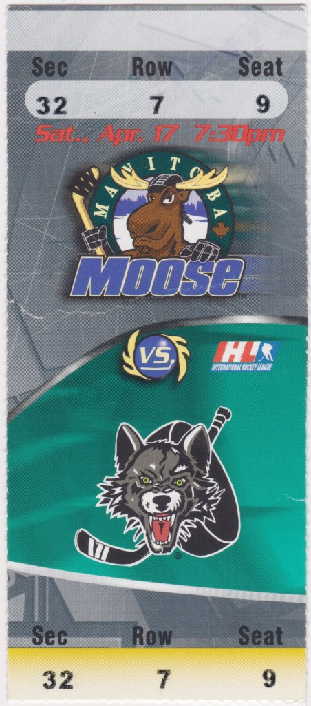 1999 Manitoba Moose ticket stub vs Chicago Wolves