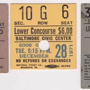 Lot of 5 Baltimore Civic Center ticket stubs