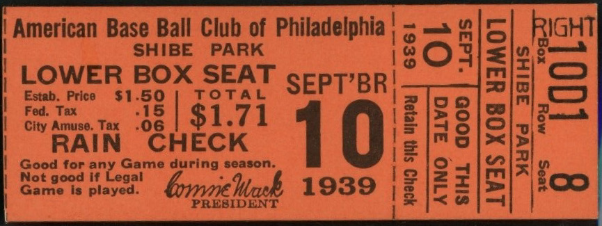 1939 Ted Williams First 2 HR Game ticket stub