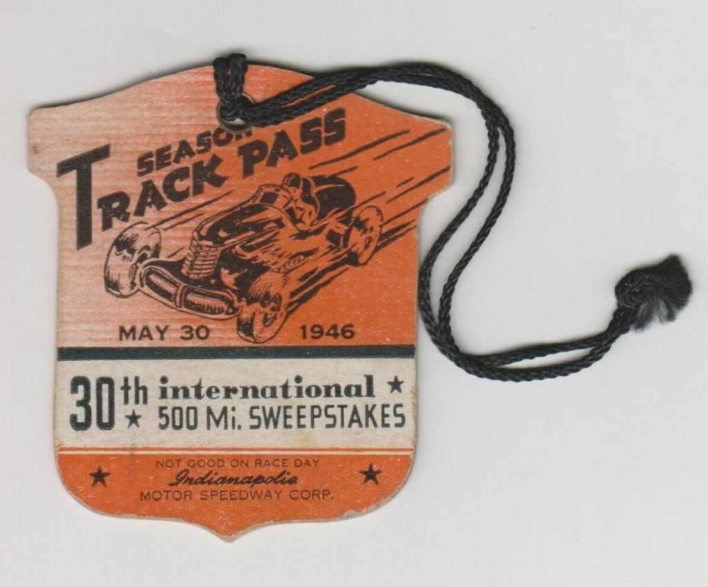 1946 Indianapolis 500 Die Cut Track Pass