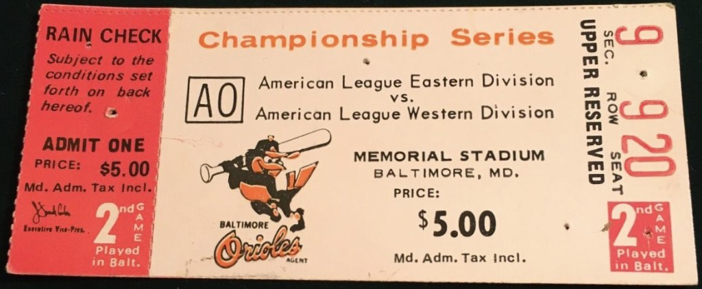 1971 ALCS Game 2 ticket stub Orioles Athletics