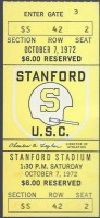 1972 NCAAF Stanford Cardinal ticket stub vs USC