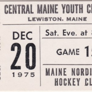 1975 NAHL Maine Nordiques ticket stub vs Syracuse
