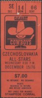 1976 Calgary Cowboys ticket stub vs Czech All-Stars