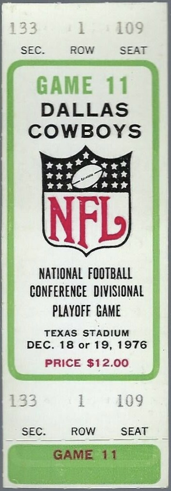 1976 NFC Divisional Playoff Game ticket stub Rams Cowboys
