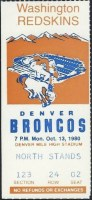 1980 Denver Broncos ticket stub vs Washington