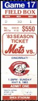 1983 Darryl Strawberry 1st Hit and RBI ticket stub