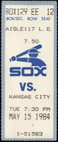 1984 Chicago White Sox ticket stub vs Royals