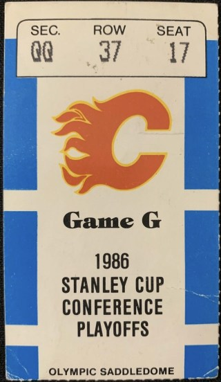 1986 Stanley Cup Playoffs Game 1 ticket stub Flames Blues 4