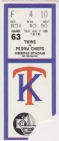 1989 Kenosha Twins ticket stub vs Peoria