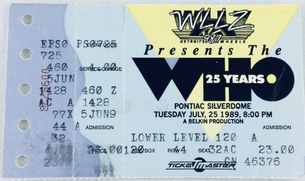 1989 The Who ticket stub Silverdome