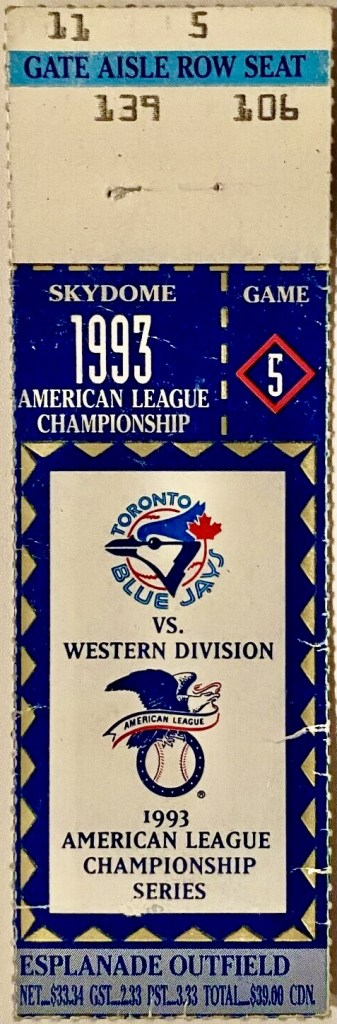 1993 ALCS Game 5 ticket stub Blue Jays White Sox