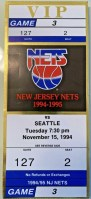 1994 New Jersey Nets ticket stub vs Seattle