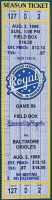 1998 Kansas City Royals unused ticket vs Baltimore