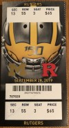 2019 NCAAF Michigan Wolverines ticket stub vs Rutgers