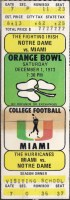 1973 NCAAF Miami Hurricanes ticket vs Notre Dame