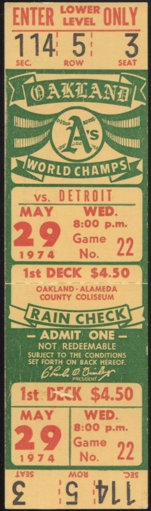 1974 Oakland A's unused ticket vs Detroit