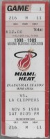 1988 Miami Heat Inaugural Game ticket stub vs Clippers