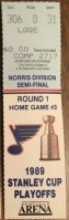 1989 St. Louis Blues Playoffs Game 5 ticket stub vs Minnesota