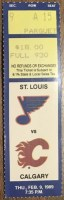 1989 St. Louis Blues ticket stub vs Flames Feb 9